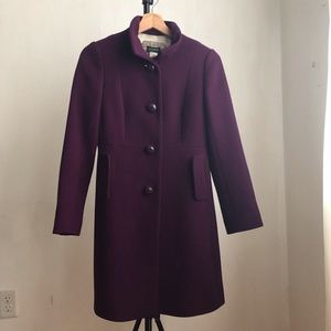 J. Crew coat purple size:0P buttoned down wool